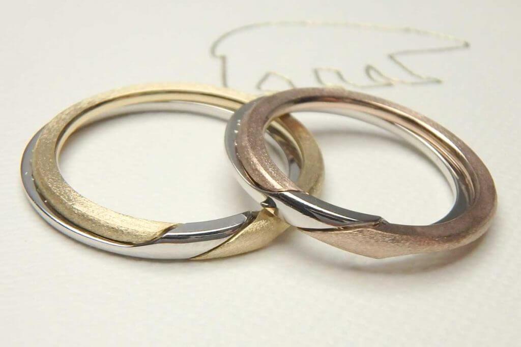 ゴールドとプラチナの結婚指輪のパズル