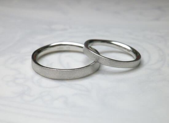 結婚指輪プラチナのマット仕上げ