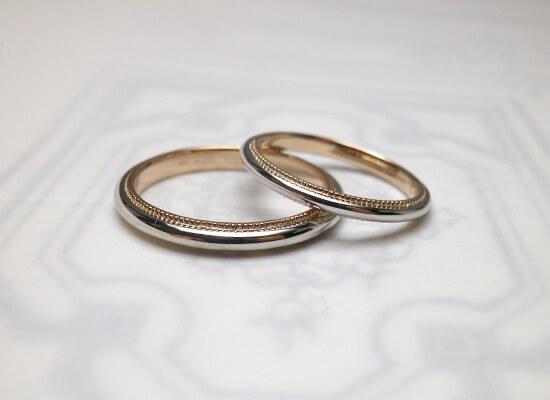 ミル打ちの結婚指輪のクルミル