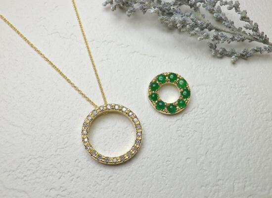 イエローゴールドのダイヤモンドネックレス