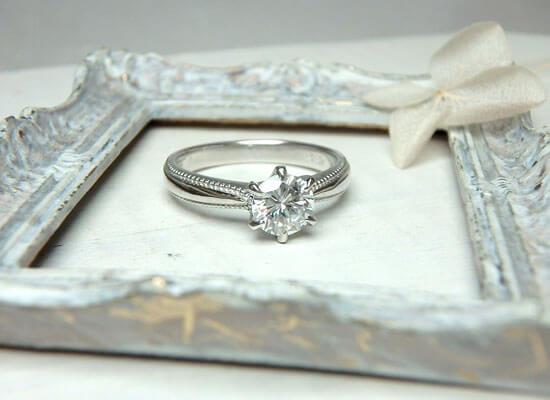 リフォームをしたミル打ちの婚約指輪