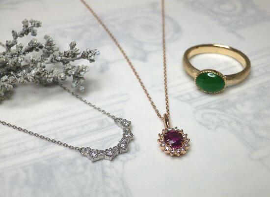 ダイヤとルビーのネックレスと翡翠リングのジュエリーリフォーム