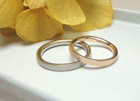 ピンクゴールドとブラックゴールドの結婚指輪