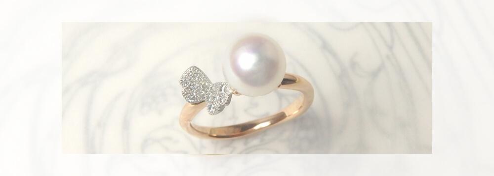 真珠とちょうちょの指輪